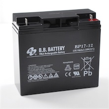 12V 17Ah Akku, AGM Bleiakku, B.B. Battery BP17-12, VdS, 181x76x166 (lxbxh), Pol B1 (M5 Schraube und Mutter)
