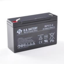 6V 12Ah Akku, AGM Blei-Akku, B.B. Battery BP12-6, VdS, 151x50x94 mm (lxbxh), Pol T2 Faston 250 (6,3 mm)