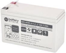 12V 7.2Ah Akku, Standby AGM Blei-Akku, battery-direct SBY-AGM-12-7.2, 151x65x94 (lxbxh), Pol T2 Faston 250 (6,3mm)